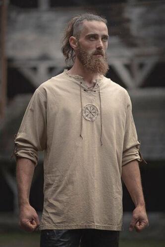 #Mittelalter Männer Retro Leinen Stickerei Hemd Tunika Uralt Wikinger Top Kostüm