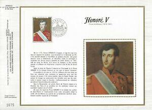 Hoja-CEF-1er-Dia-Monaco-Honore-V-Principe-de-Monaco-1977-sobre-Seda