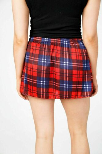 Ladies Red Tartan Check Mini Skirt Girls High Waist Elasticated Flare Rara Party