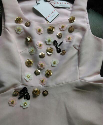cintrée agrémentée rose de poches bal et avec de Kalico Nouveau évasée pale Robe TxYqKC