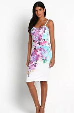 Lipsy Michelle Keegan Size 6 Floral Summer Bodycon Midi Pencil Dress Cream Pink