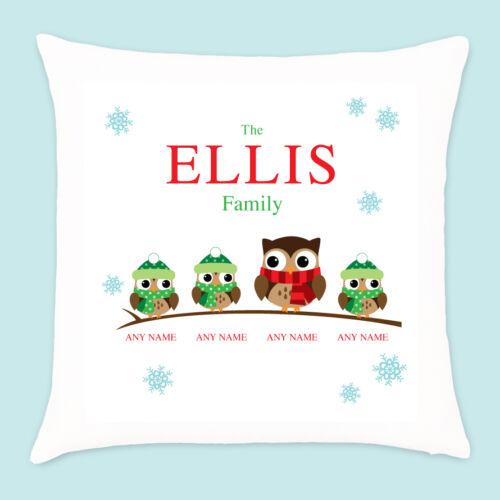 Personalised Christmas Owl Family of 2 3 4 Pillow Cushion Xmas Homeware Present