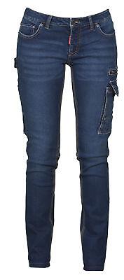 PAYPER West Lady Pantalone da Lavoro Donna Multitasche Taglio Jeans Misto Denim Chiusura Zip Effetto Consumato delav/è Blu Denim