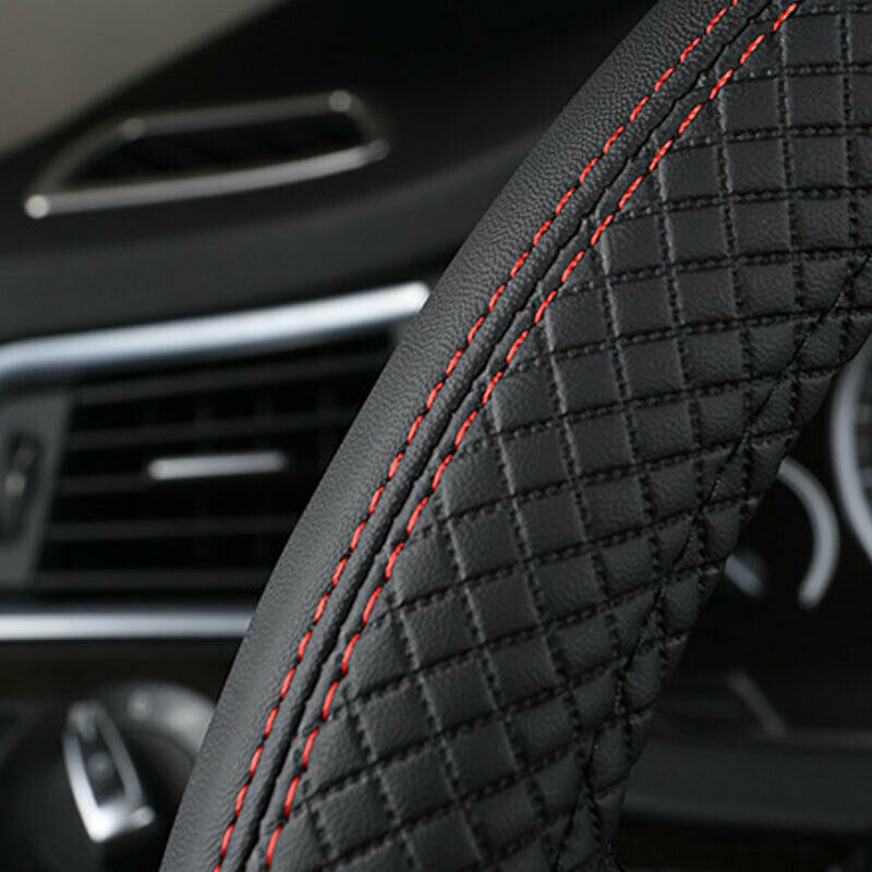 Mikrofaser Leder Universal Auto Lenkradabdeckung 38CM Auto-Styling Sport Auto Schwarz