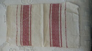 Antique-Early-MAT-EMBROIDERED-Red-on-Homespun-16-034-x9-1-2-034-Skandinavien