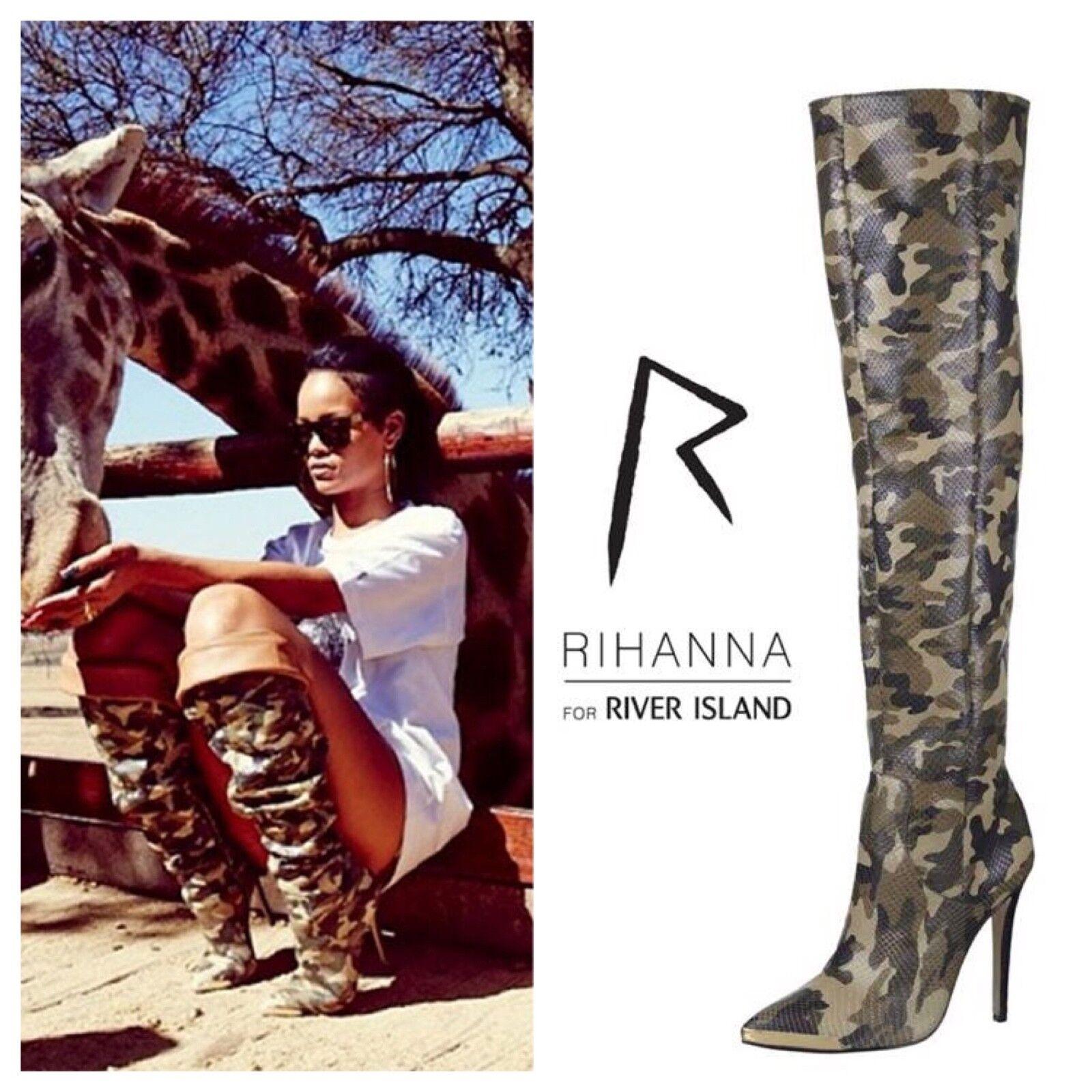 Rihanna Super Raro River Island Caqui Camo la señaló Stiletto la Camo rodilla botas altas 38 b02c78