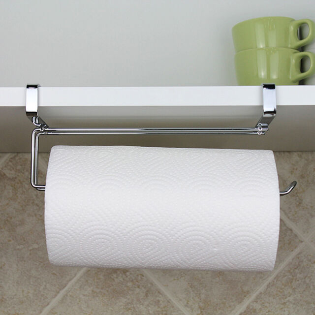 Kitchen Roll Holder Under Shelf Cabinet Stainless Steel Rack Towel