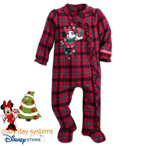 Disney Store Happy Holidays Minnie Mouse Flannel Footed Pajama Sleeper 6 Months