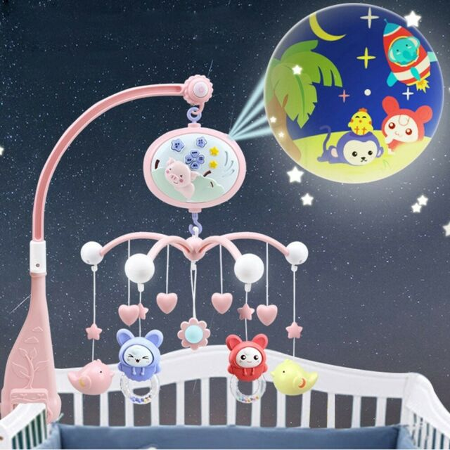 Baby Musical Bed Cot Mobile Stars Dreams Projection Nursery Soft Lullaby Remote