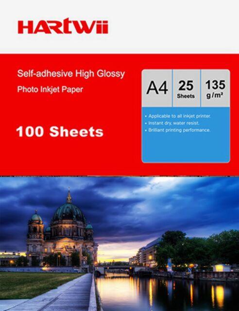 100 Sheet A4 135Gsm Self-adhesive Sticky High Glossy Photo Paper Inkjet AU Post