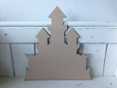 10 x CASTLES plain - 10cm - Wooden MDF Blank Craft Shapes Decoupage Tags Bunting
