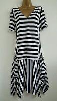 NEW M&S 14 16 18 Layered Black White Striped Asymmetric Monochrome Dress