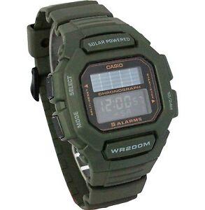 Casio-HDD-S100-3A-Mens-ARMY-GREEN-Digital-Solar-Sports-Watch-Tough-5-ALARMS-200M