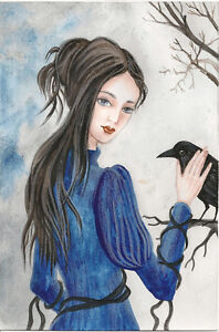 5x7 PRINT OF PAINTING RAVEN CROW RYTA HALLOWEEN WITCH WICCA SPELLS GOTHIC FOLK