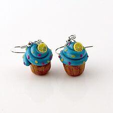 cupcake earrings blue lemon cute emo retro buns sweet