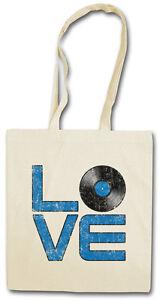 VINYL LOVE EINKAUFSTASCHE Schallplatte Club Retro Plattenspieler DJ MC Disc