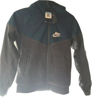 Nike Boy/'s Sportswear Windrunner Sherpa Jacket AA0069-478 Black Navy