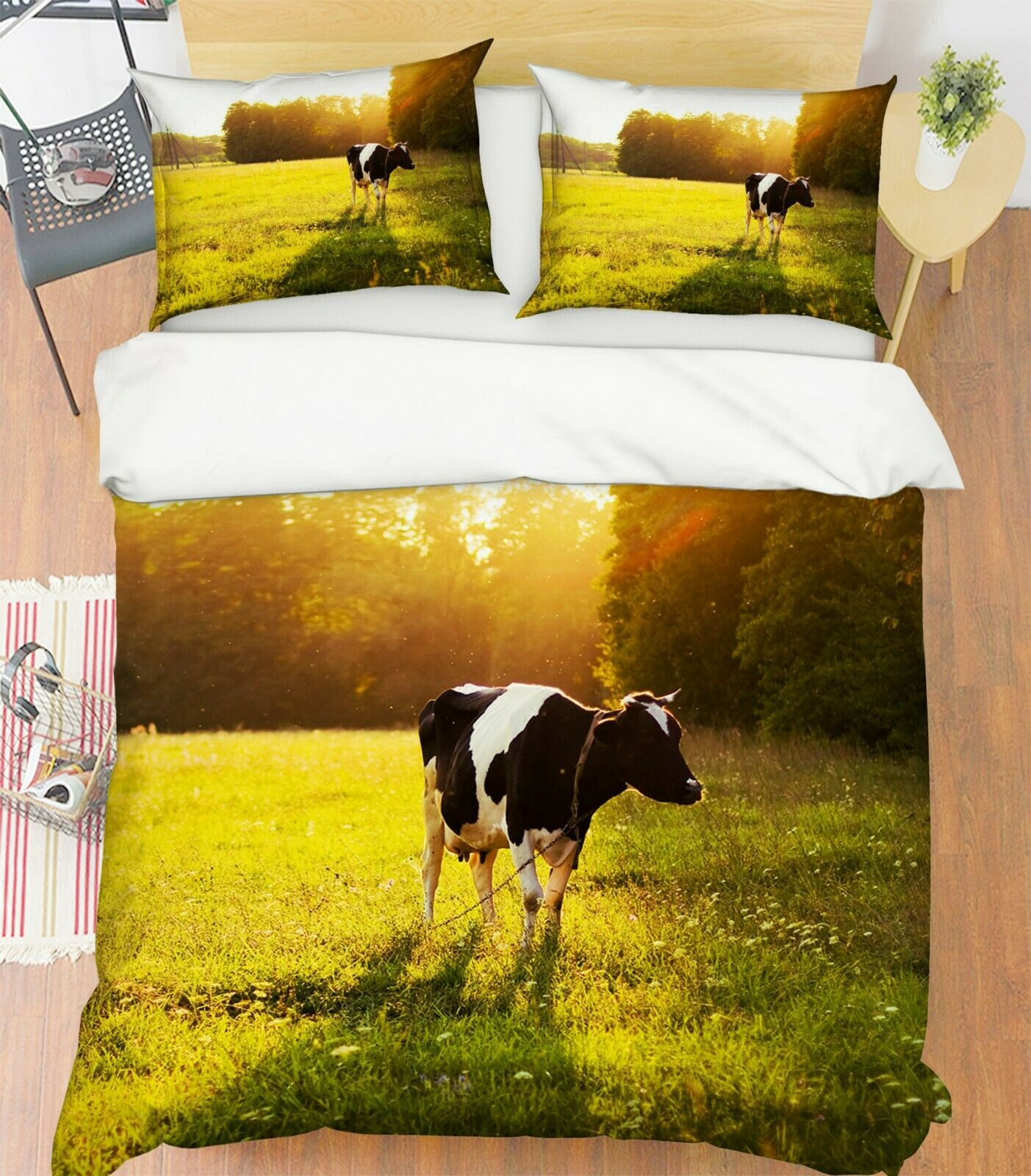 3D Mammal Cow O80 Animal Bed Pillowcases Quilt Duvet Cover Set Queen King Amy
