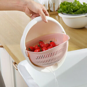 Plastic-Rotating-2-Layer-Drain-Basket-Strainer-Noodles-Fruit-Vegetable-Holder-pp