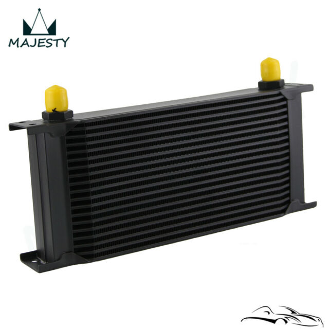 """19 Row 8AN Universal Engine Transmission Oil Cooler 3/4""""UNF16 AN-8 Black"""