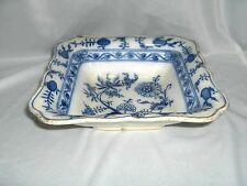 "Antique Villeroy Boch Zwiebelmuster 8"" Square Serving Bowl Flow Blue Onion"