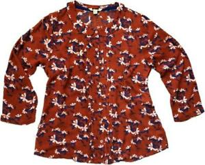 NEW-IN-WHITE-STUFF-Rust-Burnt-Orange-AUTUMN-Floral-Blouse-Top-Shirt-6-18-FAB