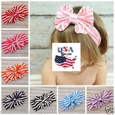 Lot of 8 Messy Bow Big Bow Headbands Baby Toddler Girls Striped Bows Turban