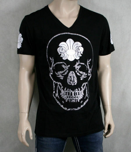 A&G AMAL GUESSOUS Skull Rhinestone Gradient T-shirt RARE