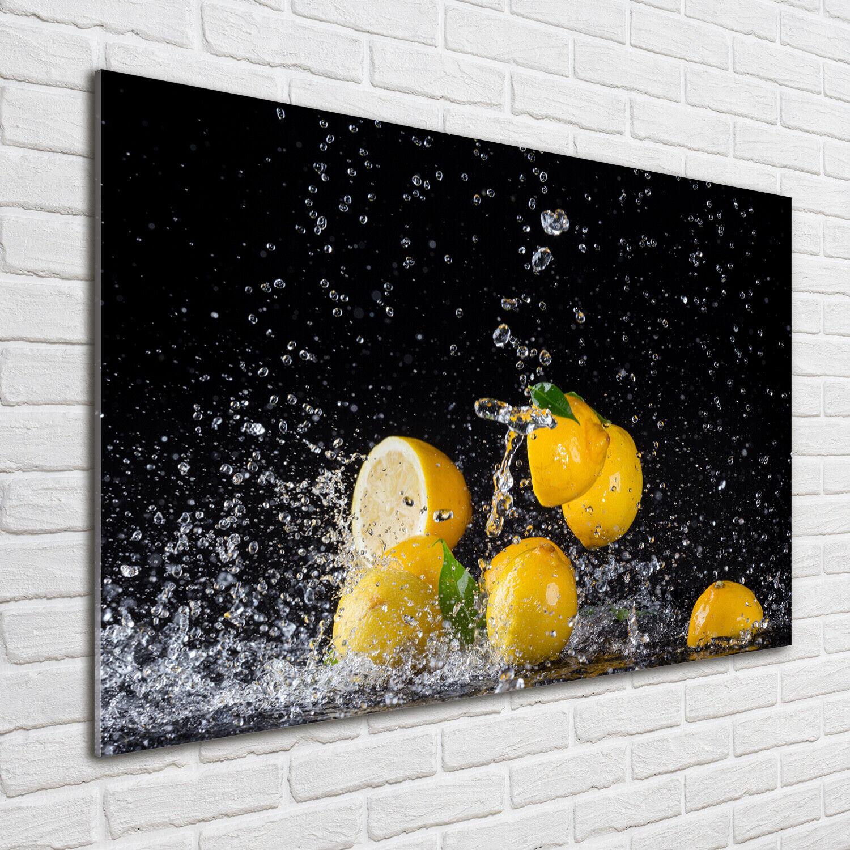 Wandbild aus Plexiglas® Druck auf Acryl 100x70 Essen & Getränke Zitronen Wasser