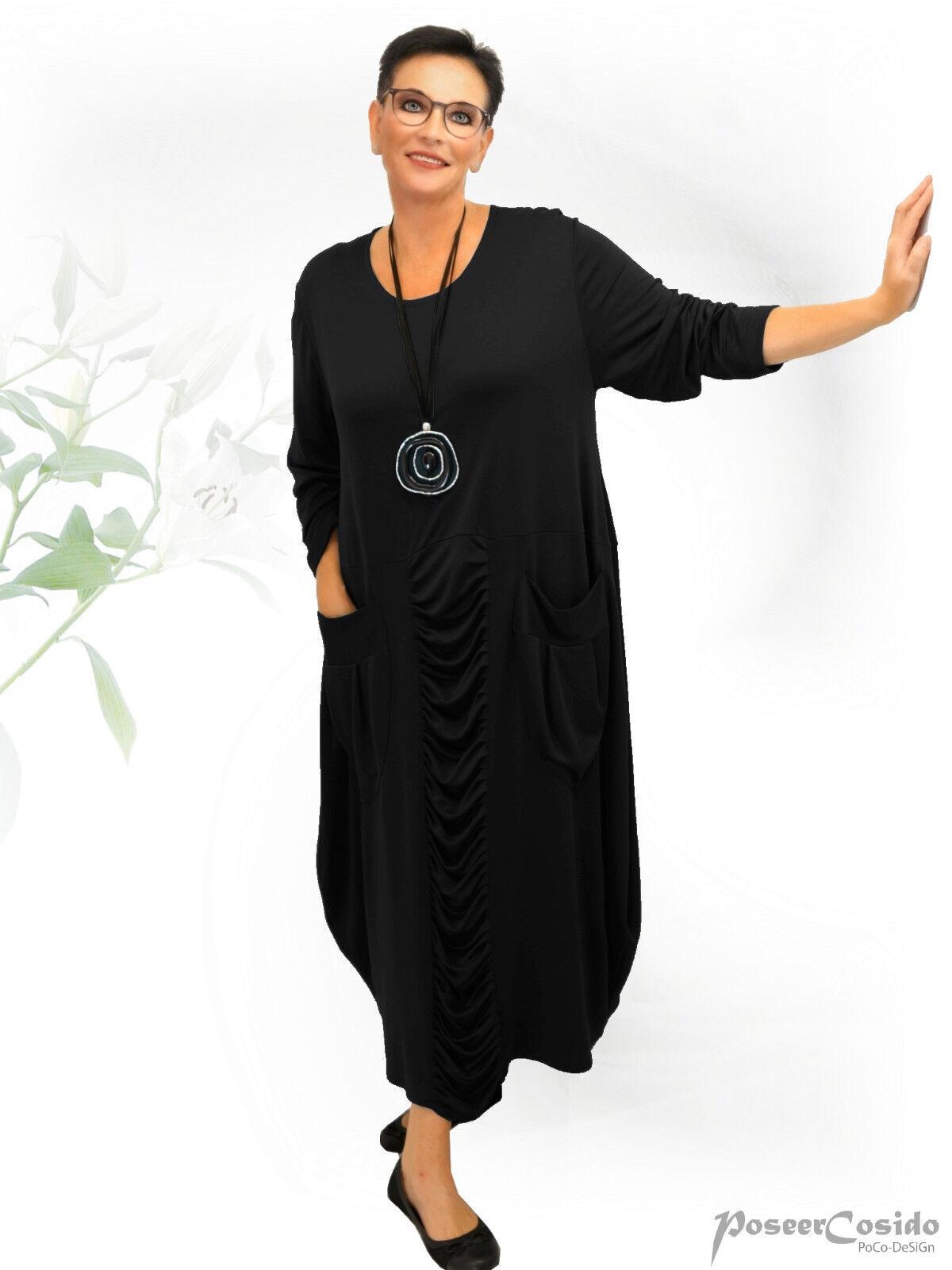 PoCo DeSiGn LAGENLOOK Ballon-Kleid 44 46 48 50 52 54 56 58 L-XL-XXL-XXXL schwarz