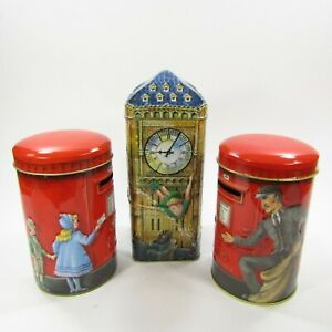 Lot-of-3-Vintage-Coin-Bank-Tins-Churchills-Peter-Pan-Big-Ben-Post-Box-EMPTY