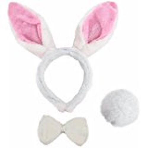 Pâques Peluche Lapin Rose Lapin Blanc Serre-tête oreilles queue robe fantaisie ensemble Nœud Papillon