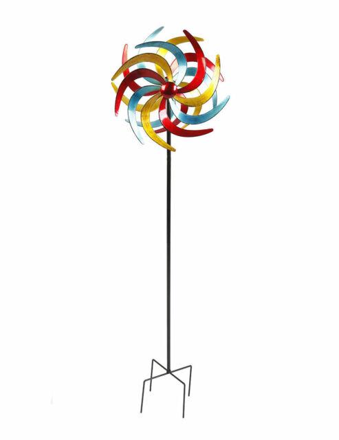 doppelläufig Windmühle Windspiel Windrad Metall Ø 38 cm Garten Dekoration