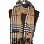 100% CASHMERE SCARF MADE IN SCOTLAND PLAID Check DESIGN SOFT UNISEX Camel #B701