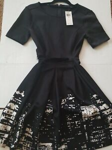 NWT-ELIE-TAHARI-Women-039-s-Size-2-Black-with-White-FIT-amp-FLARE-DRESS-MSRP-195-00