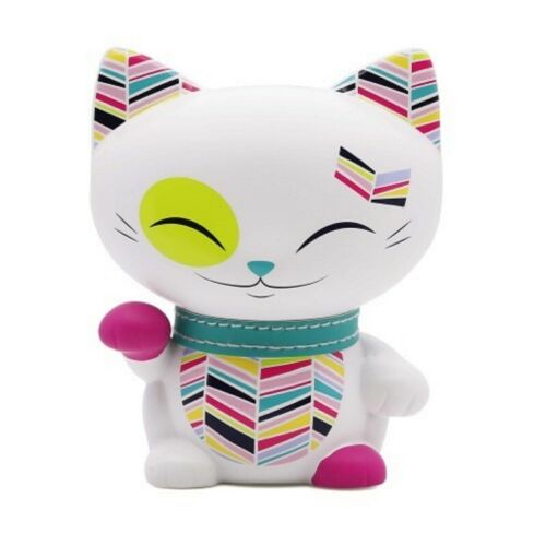 Chat porte bonheur Mani the Lucky Cat blanc collier turquoise