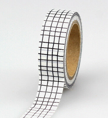 10m Roll Japanese Washi Tape Black & White Grid Masking Tape Gift and Craft Tape
