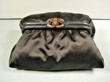 """Chanel Black Satin Limited Edition """"CC"""" Bee Evening Bag Clutch Authentic New"""
