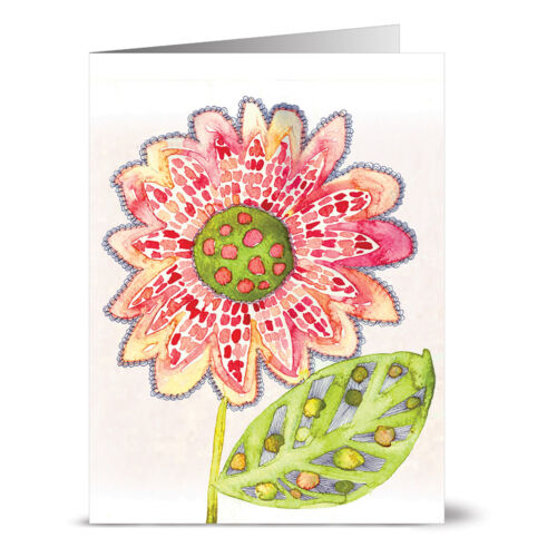 24 Note Cards - Watercolor Sunflower - Yellow Envs