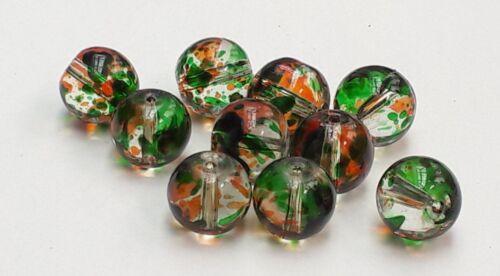 """/""""Forest Floor/"""" Pack 10 rond perles de verre"""