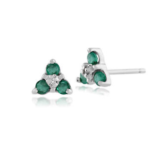 9ct-White-Gold-0-23ct-Emerald-amp-Diamond-Classic-Cluster-Stud-Earrings