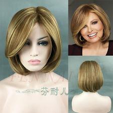 New style flaxen yellow blonde mixed short bob women's full wigs +wig cap