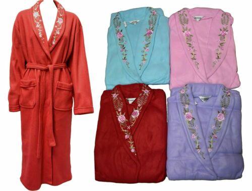 Femme Polaire Brodé Peignoir Col Châle Kimono Robe de Chambre