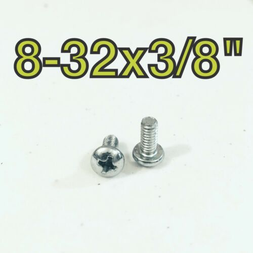 "Qty 100 #8-32 x 3//8/"" Phillips Pan Head Machine Screw Zinc Plated Steel"