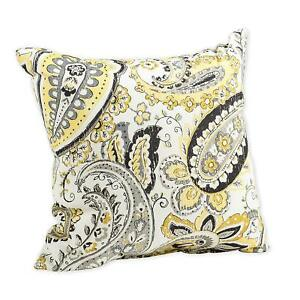 Yellow Outdoor Throw Pillows.Details About Hadia Goldmine Paisley Grey And Yellow Print 16 X 16 Indoor Outdoor Throw Pillow