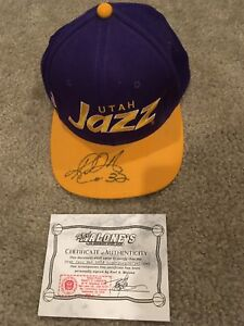 a143a18ed3ab2f Image is loading KARL-MALONE-SIGNED-AUTOGRAPHED-UTAH-JAZZ-BASKETBALL-HAT-
