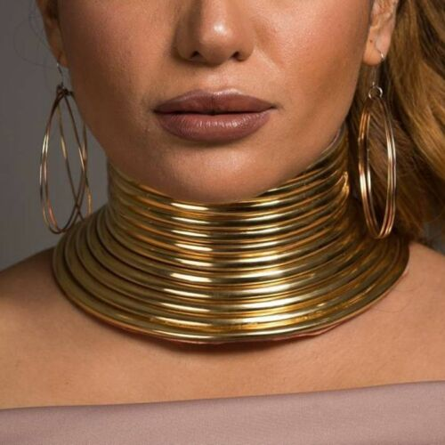 African Jewelry Vintage Necklace Metal Coil Adjustable Choker Maxi Collar UK
