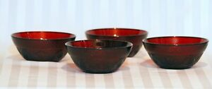 Vintage Retro Arcoroc France Ruby Red Glass Bowl Set of 4 ~ 5.7""