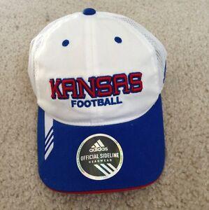 UNIVERSITY OF KANSAS KU JAYHAWKS FOOTBALL HAT CAP ADIDAS MENS NEW ... a77653643c04
