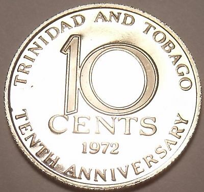 Proof Trinidada /& Tobago 1973 10 Cents~Only 20,000 Minted~Free Shipping